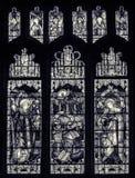 Wszystkie świętego Kościelnego witrażu Zachodnia nawa BW zdjęcie royalty free