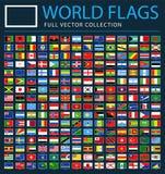 Wszystkie świat flaga na Czarnym tle Wektorowe prostokąta mieszkania ikony - Nowa Dodatkowa lista kraje i terytorium - ilustracja wektor