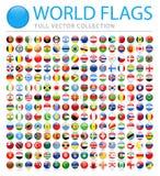 Wszystkie świat Zaznacza Wektorowe Round Glansowane ikony - Nowa Dodatkowa lista kraje i terytorium - royalty ilustracja