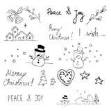 wszystkie boże narodzenia grupowali przedmiota żadnego recolour cmyk doodles łatwych gradienty zdjęcia stock