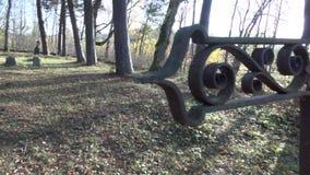 Wszystkie dusza dnia antykwarski ośniedziały krzyż w antycznym cmentarzu zbiory wideo