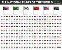 Wszystkie flaga państowowa świat Realistyczna falowanie tkanina z flagpole i cienia projektem wektor ilustracji