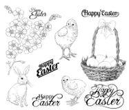 wszystkie jakaś Easter elementów ilustracyjnych indywidualnych przedmiotów szalkowe setu rozmiaru tekstury wektor royalty ilustracja