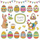 wszystkie jakaś Easter elementów ilustracyjnych indywidualnych przedmiotów szalkowe setu rozmiaru tekstury wektor Fotografia Royalty Free