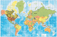 wszystkie kraje wyszczególniająca mapa wymienia świat Fotografia Stock
