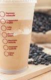 Wszystkie menu lodowa kawa z mlekiem na drewnianym tle Zdjęcia Stock