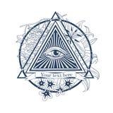 Wszystkie widzii oko ilustracja Tatuaż, wolnomularski symbol, Obraz Royalty Free