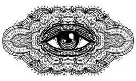 Wszystkie widzii oko w ozdobny mandala inspirował wzór Mistyczka, alche ilustracja wektor