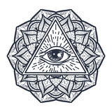 Wszystkie Widzii oko w trójboku i Mandal Obraz Stock