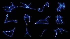 Wszystkie 12 zodiaków gwiazdozbiorów Gwiazdowy Tworzyć ilustracji