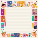 Wszystkiego Najlepszego Z Okazji Urodzin żartuje dekoracyjną granicę Zdjęcia Royalty Free