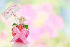 Wszystkiego najlepszego z okazji urodzin babeczka Zdjęcie Stock