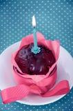 Wszystkiego najlepszego z okazji urodzin babeczka z świeczką Obraz Stock