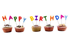 Wszystkiego najlepszego z okazji urodzin babeczka z świeczkami Fotografia Stock