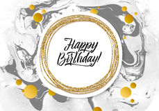 Wszystkiego Najlepszego Z Okazji Urodzin czerni marmuru tekstury karta Shimmer sztandaru Złoty szablon na Białym tle Wektorowy Il Zdjęcia Royalty Free