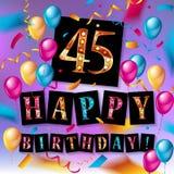 Wszystkiego Najlepszego Z Okazji Urodzin czterdzieści pięć 45 rok Zdjęcie Royalty Free