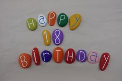 Wszystkiego Najlepszego Z Okazji Urodzin dla 18 lat na barwionych kamieniach zdjęcie royalty free
