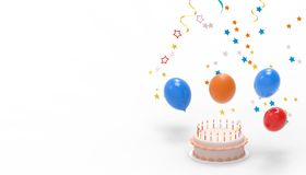 Wszystkiego najlepszego z okazji urodzin i Międzygwiazdowy kolorowy balonu rówieśnik odizolowywający na białym tle ilustracji