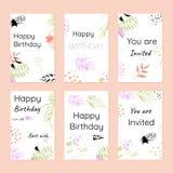Wszystkiego najlepszego z okazji urodzin i zaproszenia Pocztówka szablon Obraz Royalty Free