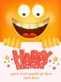 Wszystkiego najlepszego z okazji urodzin karciany szablon z żółtym smiley twarzy emoticon tłem Zdjęcia Royalty Free