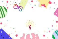 Wszystkiego najlepszego z okazji urodzin karta, świętowanie confetti partyjne gwiazdy rozprasza ca ilustracja wektor