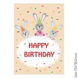 Wszystkiego najlepszego z okazji urodzin karta z królikiem ilustracja wektor