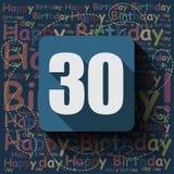 30 wszystkiego najlepszego z okazji urodzin karta lub tło Zdjęcia Royalty Free