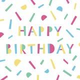 Wszystkiego Najlepszego Z Okazji Urodzin karta w Memphis stylu Nowożytny kolorowy szablon dla zaproszenia ilustracja wektor