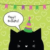 Wszystkiego najlepszego z okazji urodzin karta z ślicznym kota charakterem 2007 pozdrowienia karty szczęśliwych nowego roku desic Zdjęcie Stock