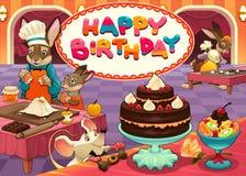 Wszystkiego Najlepszego Z Okazji Urodzin karta z śmiesznymi ciasto szefa kuchni zwierzętami royalty ilustracja