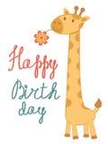 Wszystkiego Najlepszego Z Okazji Urodzin karta z żyrafą ilustracja wektor