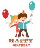 Wszystkiego najlepszego z okazji urodzin karta z dzieciakami ilustracja wektor