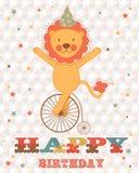 Wszystkiego najlepszego z okazji urodzin karta z szczęśliwym lwem ilustracji