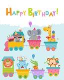 Wszystkiego Najlepszego Z Okazji Urodzin karta Z zwierzętami Na pociągu Zdjęcie Royalty Free