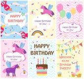Wszystkiego najlepszego z okazji urodzin kartka z pozdrowieniami szablony i partyjni zaproszenia, set pocztówki royalty ilustracja