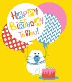 Wszystkiego Najlepszego Z Okazji Urodzin kartka z pozdrowieniami z kotami ilustracji