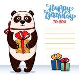 Wszystkiego najlepszego z okazji urodzin kartka z pozdrowieniami z pandą trzyma prezent Fotografia Royalty Free