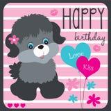 Wszystkiego najlepszego z okazji urodzin śliczny psi wektor Zdjęcia Stock