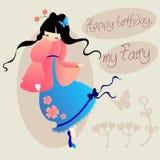 Wszystkiego najlepszego z okazji urodzin mój czarodziejka karciane śliczne dziewczyny Obrazy Stock