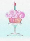 Wszystkiego Najlepszego Z Okazji Urodzin mrożenia babeczki świętowania tła bezszwowy obraz olejny ilustracja wektor