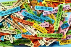Wszystkiego Najlepszego Z Okazji Urodzin na różnych językach Fotografia Stock