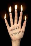 Wszystkiego najlepszego z okazji urodzin na ręce z palcowymi świeczkami Obraz Stock