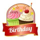 Wszystkiego najlepszego z okazji urodzin odznaka z babeczkami Obrazy Royalty Free