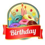 Wszystkiego najlepszego z okazji urodzin odznaka z pączka wierza Zdjęcie Royalty Free