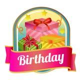 Wszystkiego najlepszego z okazji urodzin odznaka z prezenta pudełkiem Obrazy Stock
