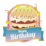 Wszystkiego najlepszego z okazji urodzin odznaki temat z dużym tortem Zdjęcia Royalty Free