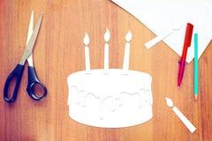 Wszystkiego Najlepszego Z Okazji Urodzin papierowy scrapbooking na drewnianym biurku Obraz Royalty Free