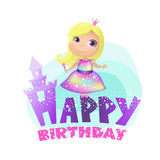 Wszystkiego Najlepszego Z Okazji Urodzin, princess Obrazy Royalty Free