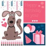 Wszystkiego najlepszego z okazji urodzin psia wektorowa ilustracja Zdjęcia Stock
