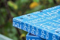 Wszystkiego Najlepszego Z Okazji Urodzin pudełko z srebrem gra główna rolę na deklu Teraźniejszość w błękitnym pudełku, chłopiec  fotografia stock